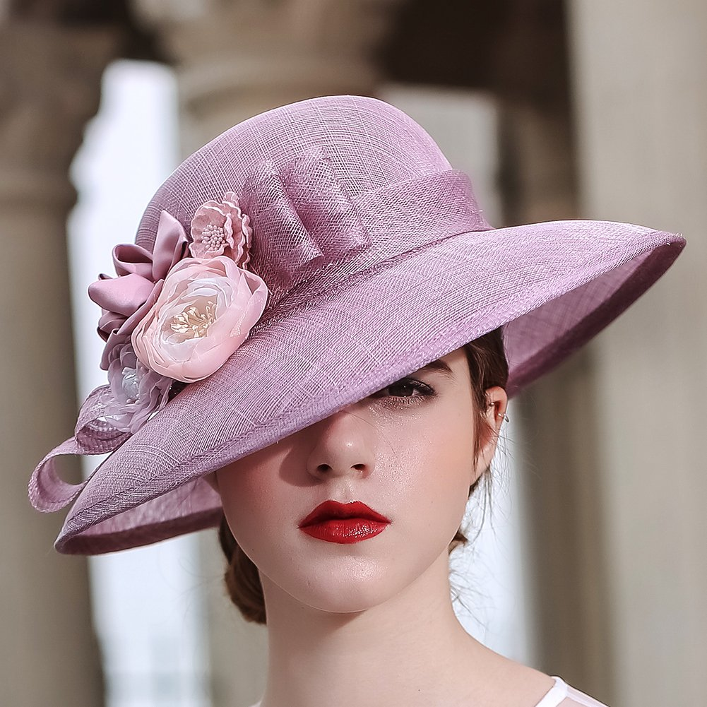 KUEENI Women Hats Church Hats Elegant Lady Sinamay Hats Black Color (Purple) by KUEENI (Image #2)