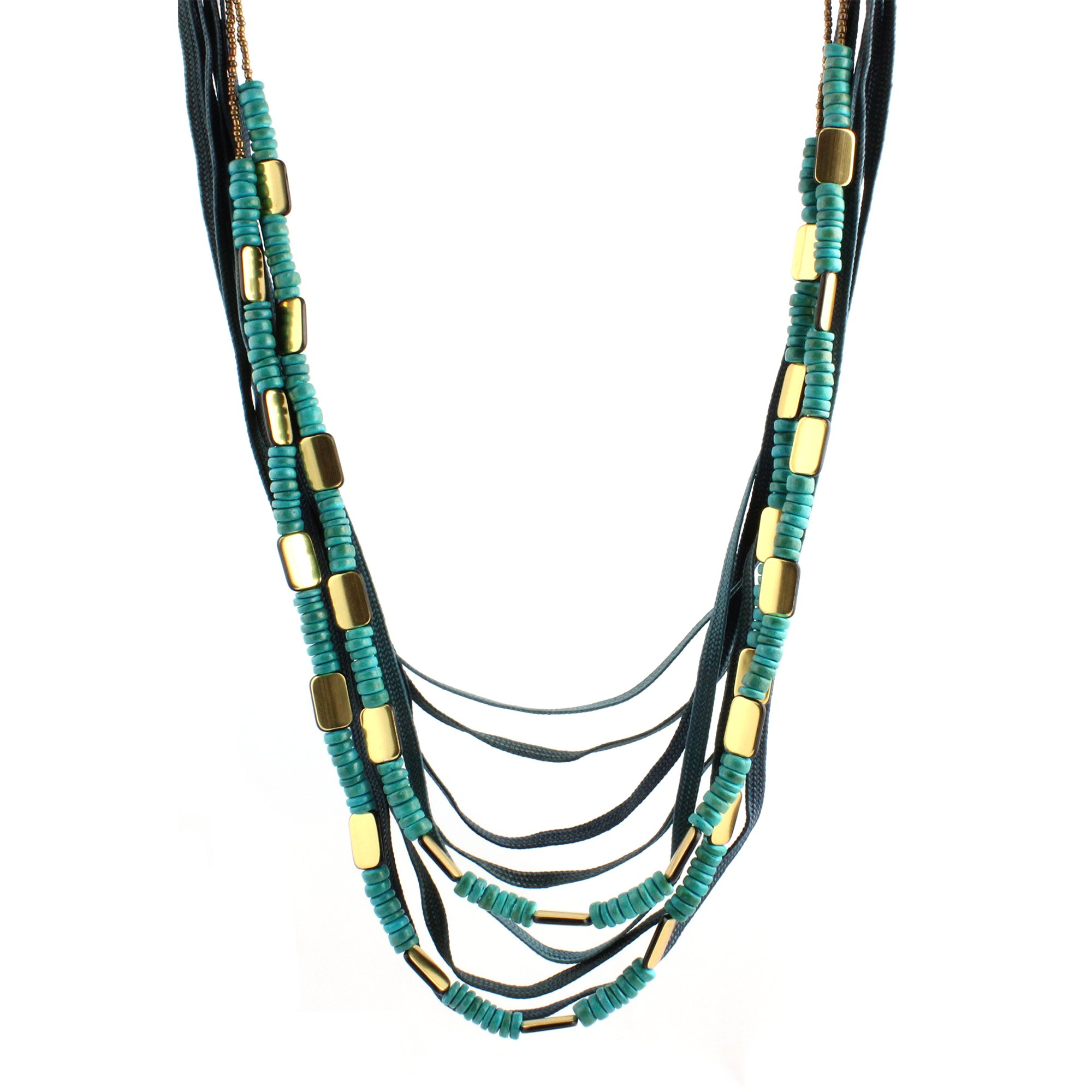 Gold-plated Base, Wood & Seed Beads Multi-layer Big Bold Blue Green Long Length Statement Necklace, 36''