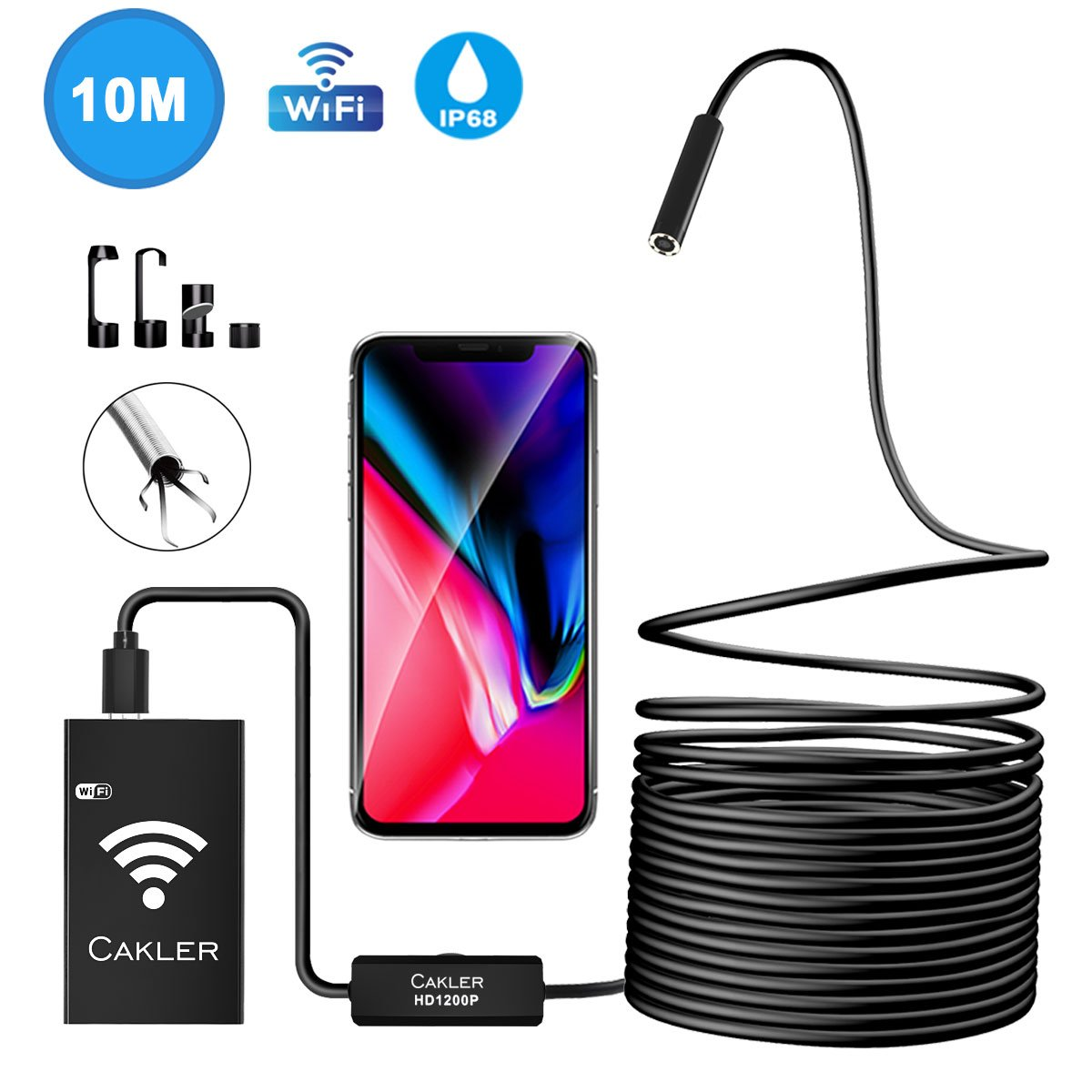 Wifi Inspection Camera, 1200P Semi-rigid Wireless Endoscope 2.0 MP HD Wifi Borescope Snake Camera for Android & IOS Smartphone, iPhone, Samsung, Ipad, Table - 33FT (Black) Dream House Direct