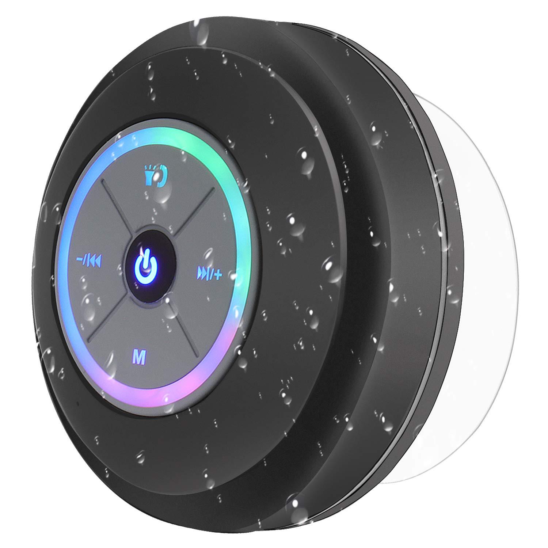 PEYOU Altavoz Bluetooth Ducha, Mini Bluetooth Altavoz Impermeable con Ventosa y LED [Manos Libres y micrófono] [6h de Tiempo de Juego] Compatible para ...