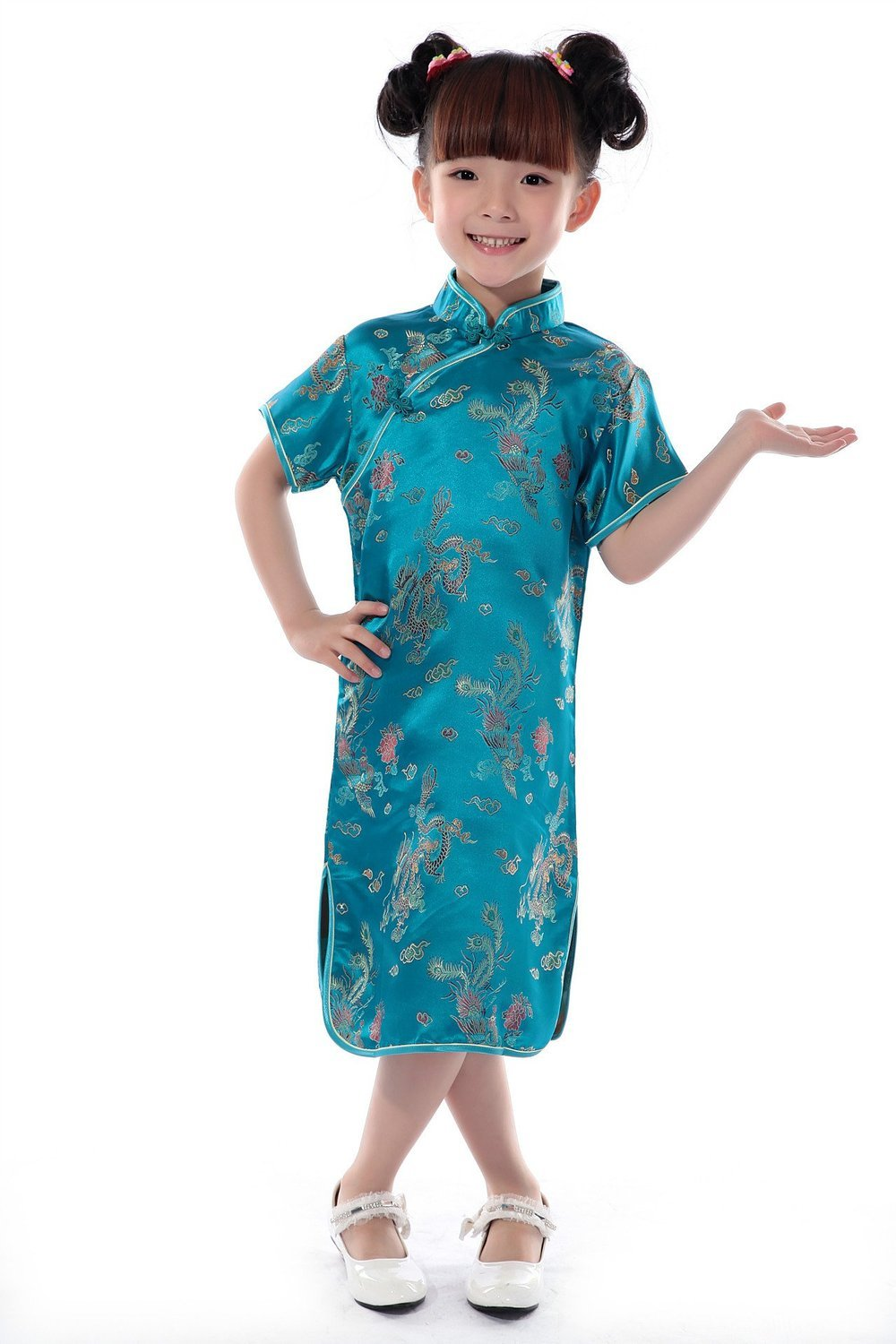 AvaCostume Girls Chinese Dragon Phoenix Qipao Cheongsam Dress, 2, Lakeblue