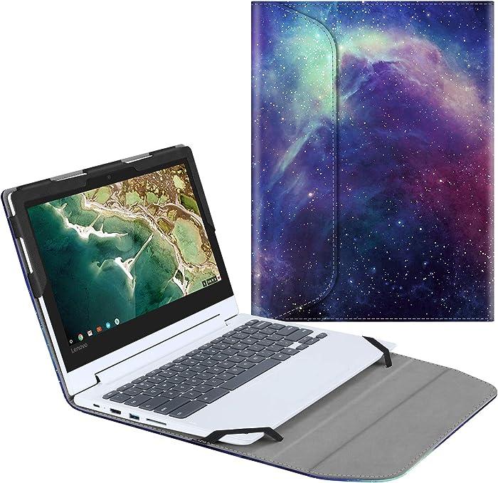 "Fintie Sleeve Case for 11.6"" Lenovo Chromebook C330 - Premium PU Leather Protective Portfolio Book Cover (NOT Fit Lenovo Chromebook N20p / N21 / N22 / N23 / 300E / 500E / Flex 11), Galaxy"