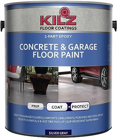 Kilz L377611 1 Part Epoxy Acrylic Interior Exterior Concrete And Garage Floor Paint Satin Silver Gray 1 Gallon 1 Gallon 4 L Amazon Com