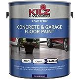 KILZ L377611 1-Part Epoxy Acrylic Interior/Exterior Concrete and Garage Floor Paint, Satin, Silver Gray, 1-Gallon, 1 Gallon,