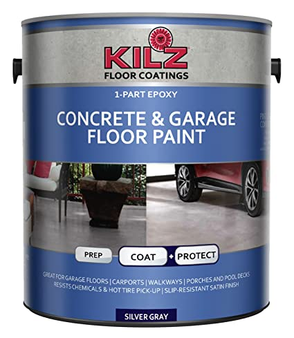 Kilz L377611 1 Part Epoxy Acrylic Interior Exterior Concrete And Garage Floor Paint Satin Silver Gray 1 Gallon 1 Gallon 4 L