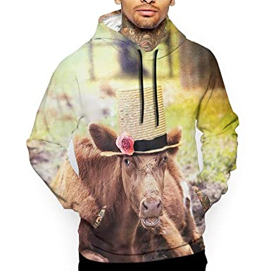 ee7104c2 CARRYFUTURE Unisex Cow Straw Hat Sweatshirts Full 3D Sublimation Hoodie at  Amazon Men's Clothing store: