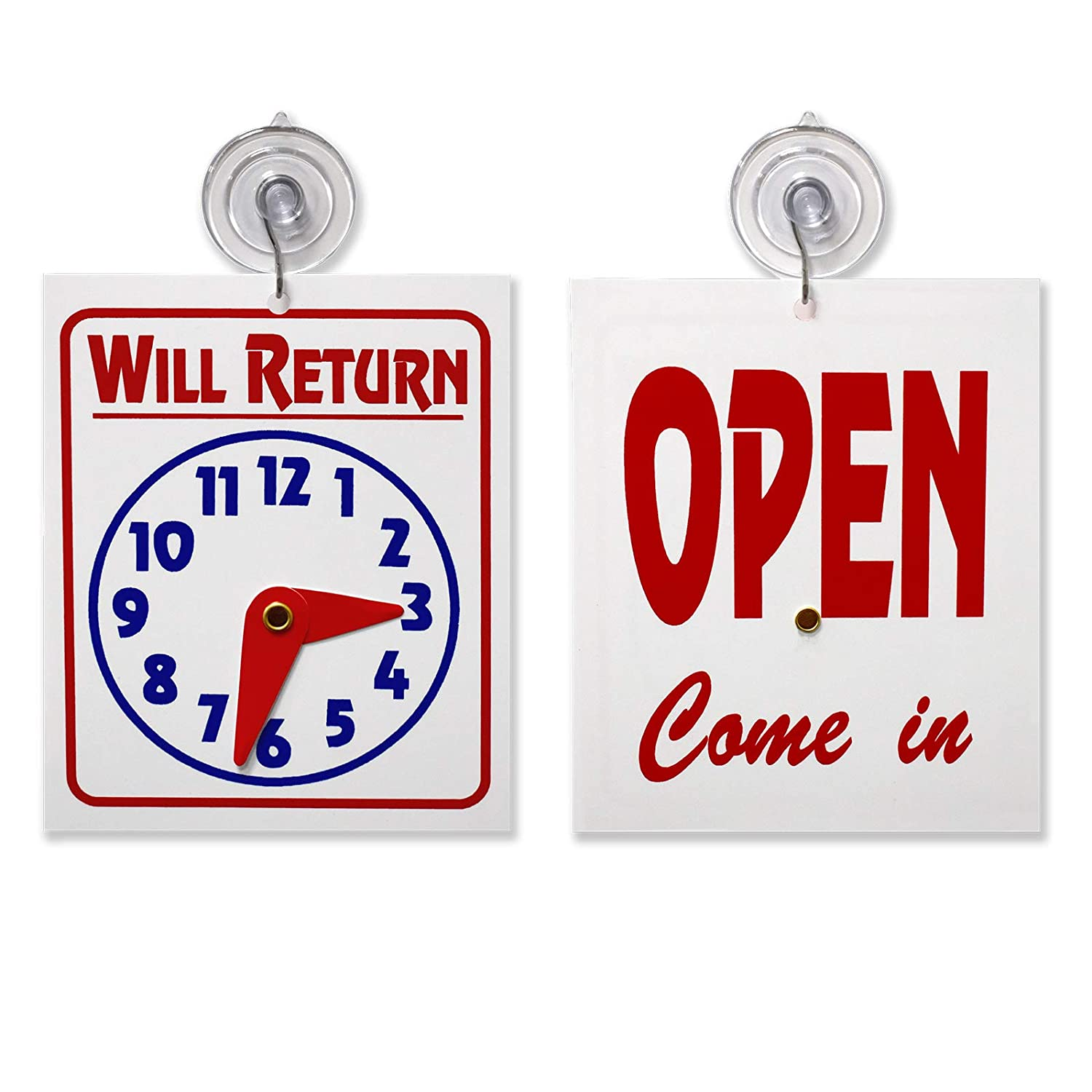 """Double Sided""""Will Return"""" Clock and""""Open Come in"""" Sign with Adjustable Clock Hands & Suction Cup, 1 Unit"""