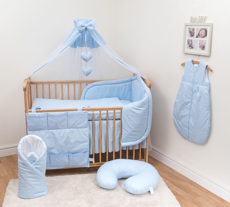 10-teiliges Baby Bettwäsche Set 140x70cm mit dickem Kinderbett Schutz Blau