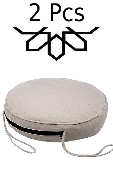 Amazon De 2 Er Set Sitzkissen Stuhlkissen Mit Schleife 45cm Gross