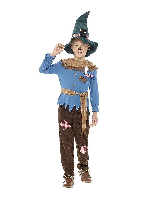 Smiffys Disfraz de espantapájaros con retales de Color marrón con Parte de Arriba, Panta