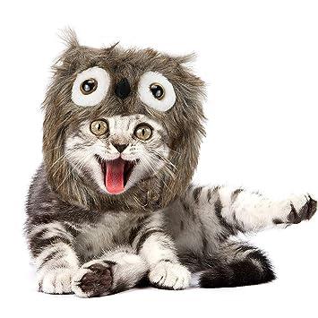 JDYW Disfraz de Mascota Monstruo Disfraz Mullido Sombrero Peluca Casco para Perros Gatos Disfraces Fiesta de