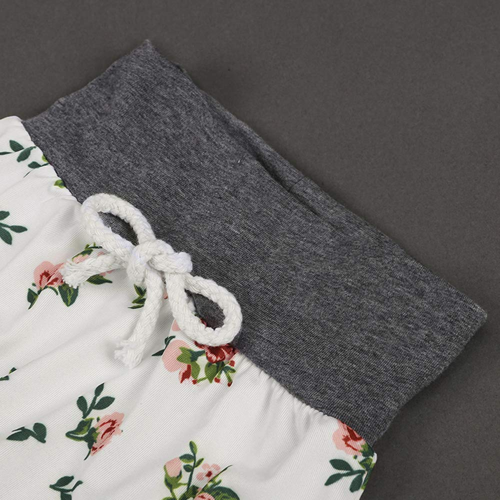 Baby Girls Long Sleeve Flowers Hoodie Tops and Pants Outfit with Kangaroo Pocket Headband by OBC (Image #5)