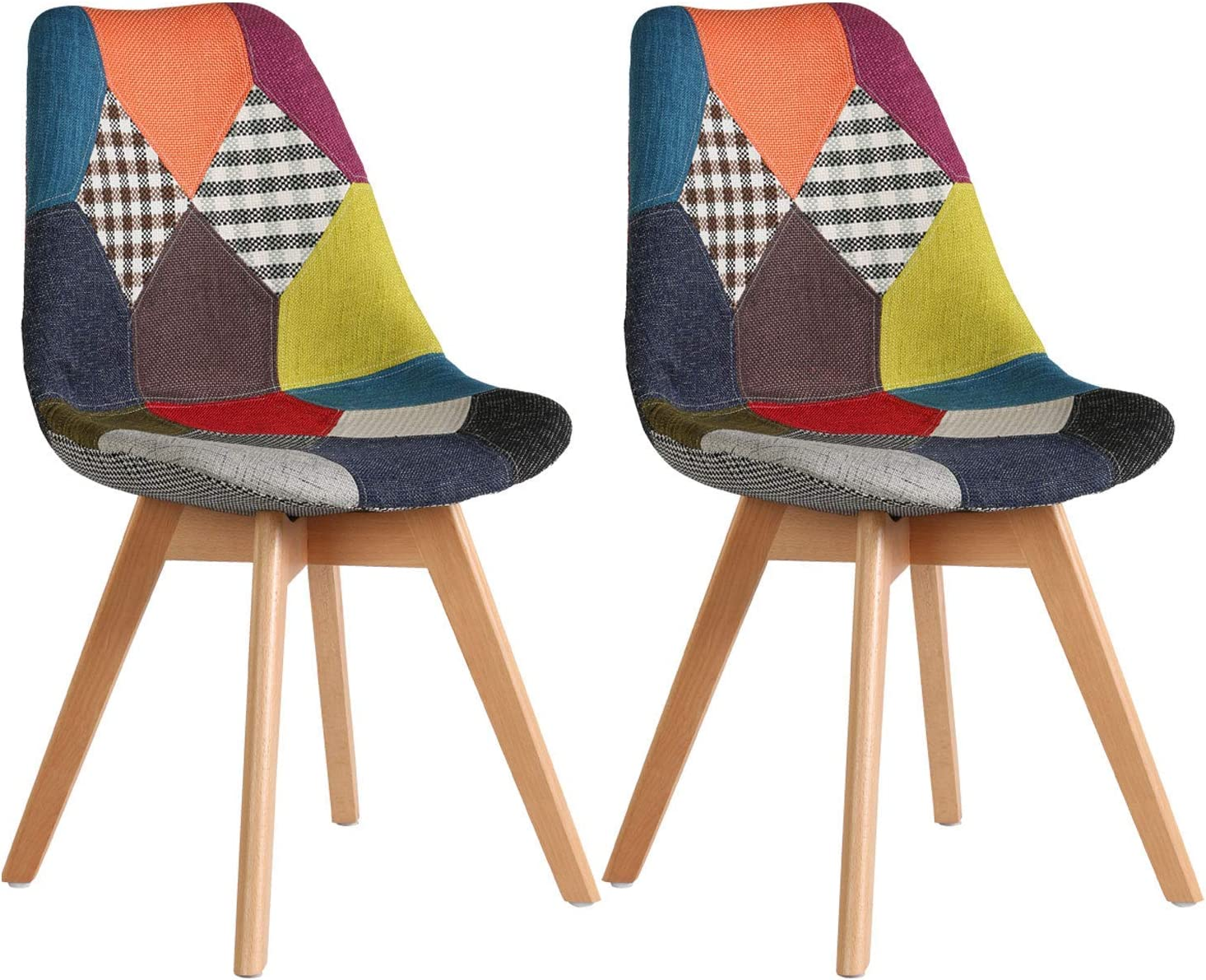 Ellexir Dining Chairs Patchwork Fabric Linen Chairs Retro Wooden Chair  (Multicolur, 10)