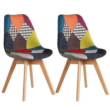 NICEMOODS 2 Sedie per Sala da Pranzo Sedia da Scrivania con Schienale  Rivestito in Tessuto di Lino Patchwork Multicolore Robuste Gambe in Legno