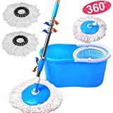 Autolizer Blue 360 Degree Rotating Easy Magic Floor Spin Mop and Twist Hurricane Spinning Dry Bucket with 2 Microfiber Mop Head, No Foot Pedal