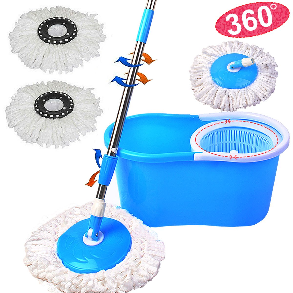 Microfiber Spin Mop Cleaning System - Easy Press Magic Floor Mop Bucket Set with 2 Microfiber Mop Heads - Blue