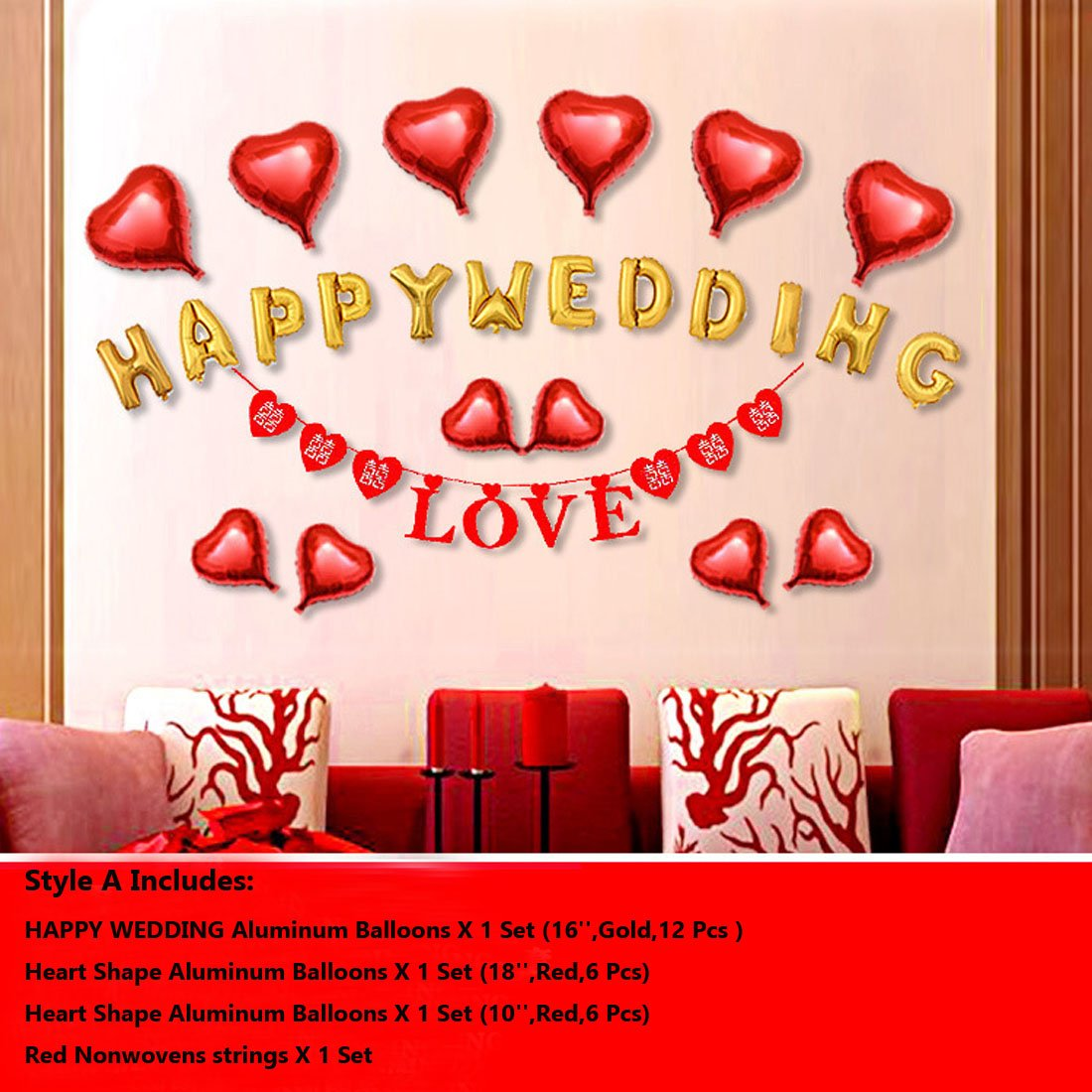Calcifer 1 Set HAPPY WEDDING/SWEET WEDDING/I LOVE YOU Aluminum ...