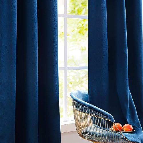 Fmfunctex Blue Blackout Curtain Drapes