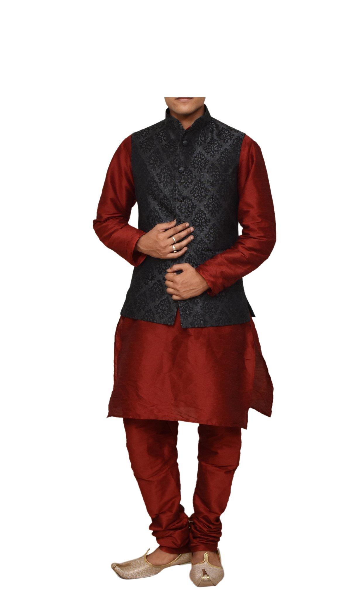 Mag Men's Red Matching silk Kurta Churidhar With Black 1st Waistcoat (RG-11052B-46)