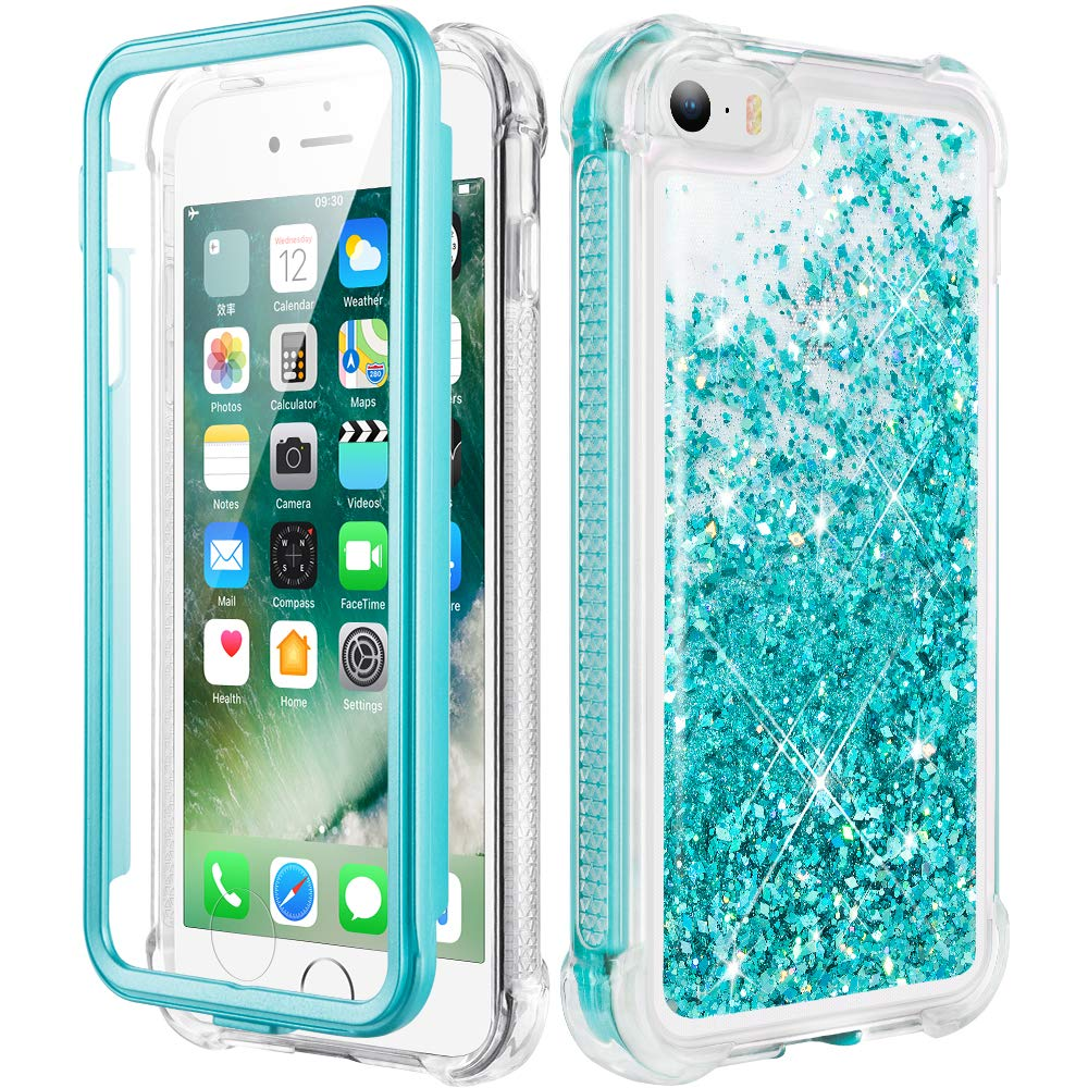 Caka iPhone 5 Case, iPhone 5S Case, iPhone SE Glitter Full Body Case with Screen Protector Bling Sparkle Floating Liquid Girls Girly Women Cute Protective Case for iPhone 5 5S SE (Teal)