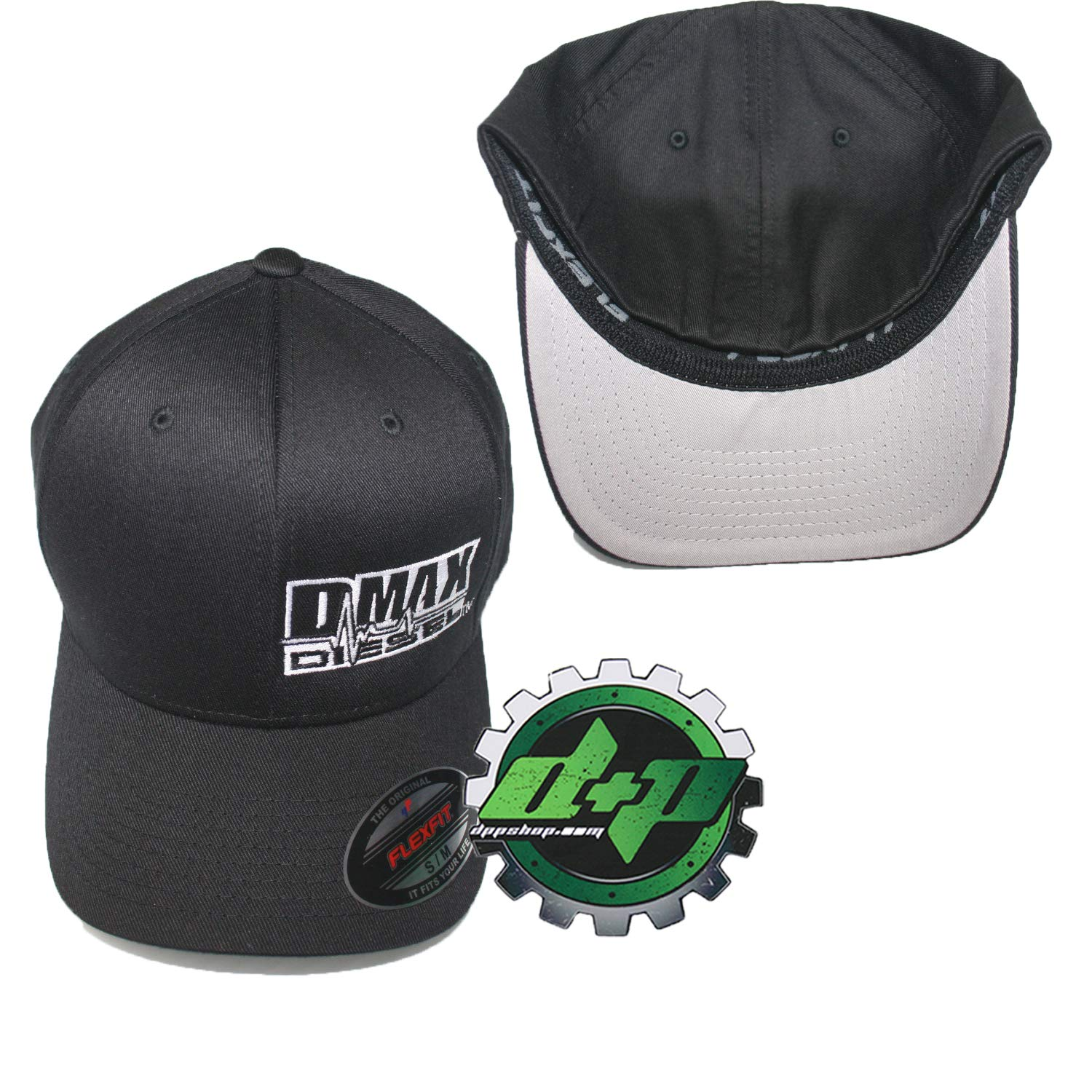 105f1034a57be Amazon.com   S M DMAX Diesel Flexfit Fitted Stretch fit Trucker Black Cap  hat Chevy Duramax   Sports   Outdoors