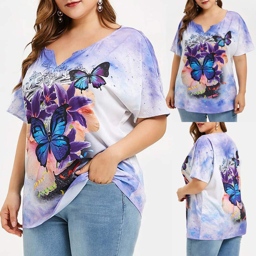 NREALY Blusa Womens Tops Short Sleeve Plus Size Butterfly Print Tie Dye T-Shirt Blouse