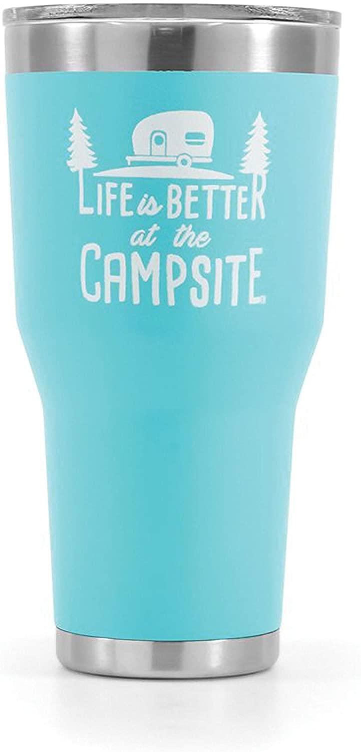 Camco Life is Better at The Campsite Stainless Steel 30 oz. Tumbler with Double Wall Insulation - Leak Proof Lid, Won't Sweat, Great For Hot and Cold Drinks - Cool Blue (53058)
