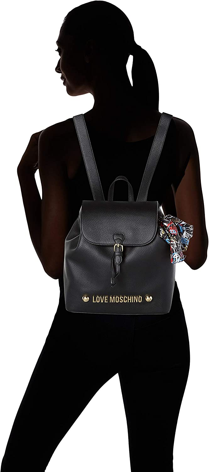 Love Moschino Black Padded Leather Backpack