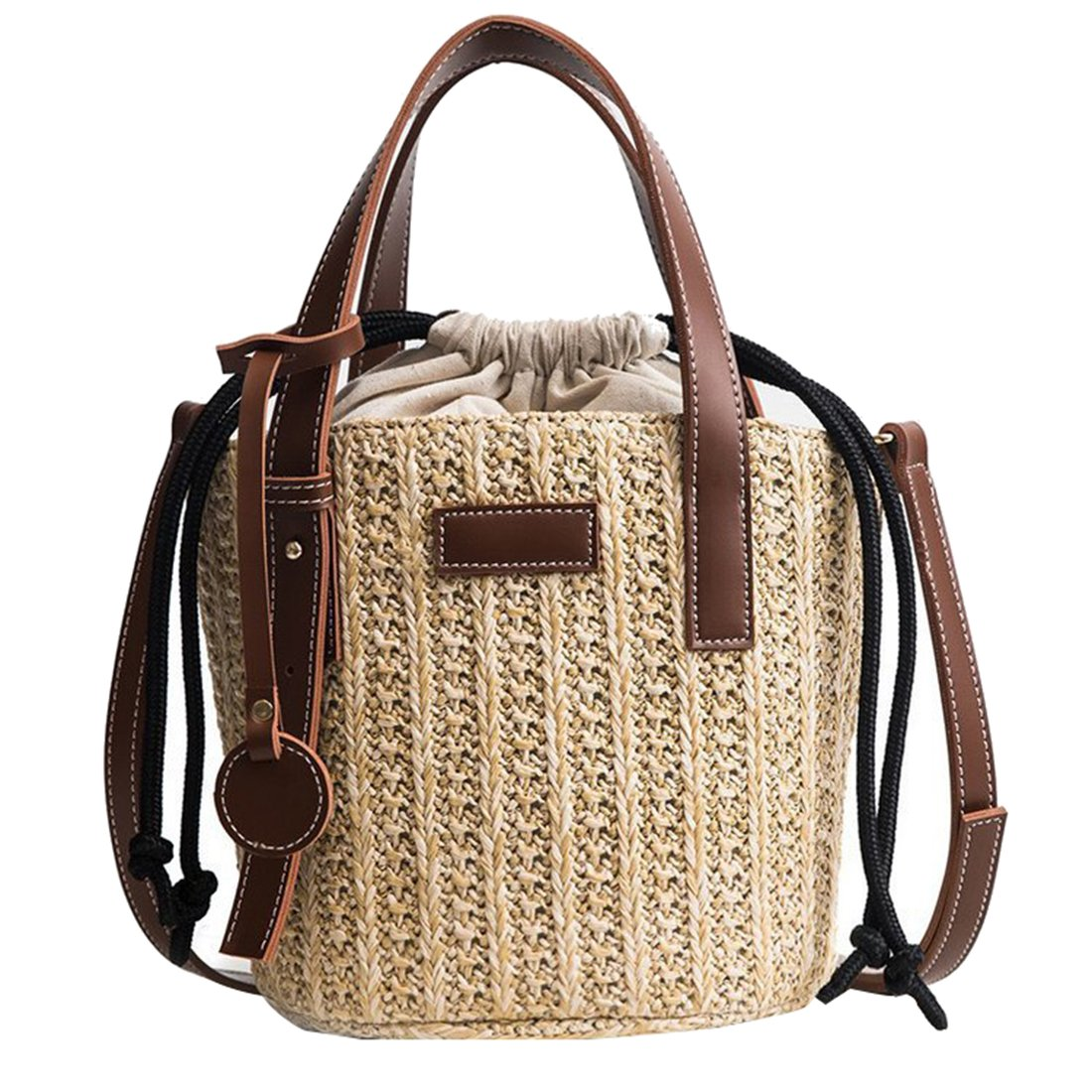 Women Straw Shoulder Bag Summer Beach Bag Tote Bag Cotton Lining Top Handle Hobo Shopper Bucket Bag