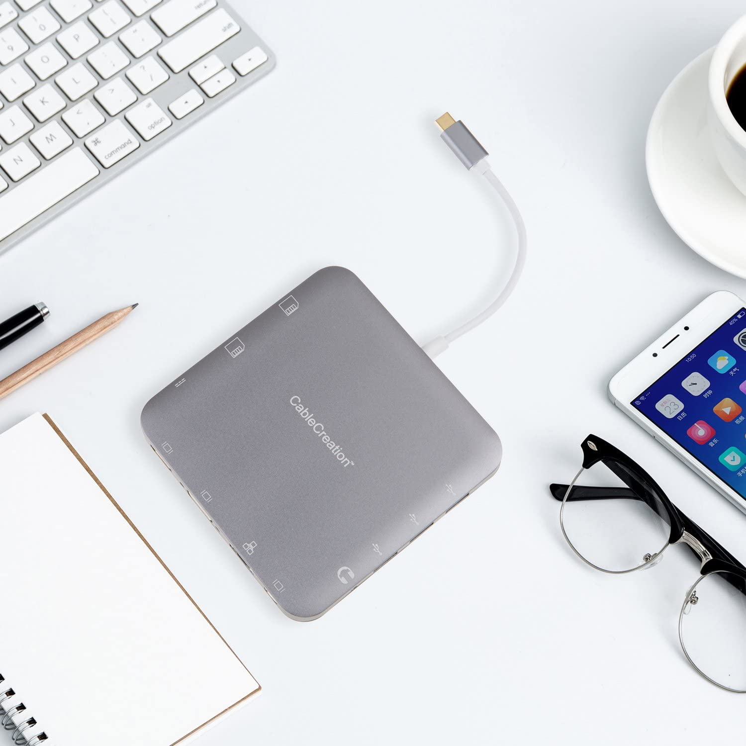 Space Grey to USB 3.0//HDMI 4K//VGA//Mini Display//Ethernet//Stereo//SD Card//Micro SD Card//USB-C Female Charging Port Multiports Adapter Hub Compatible Thunderbolt 3 CableCreation USB Type C