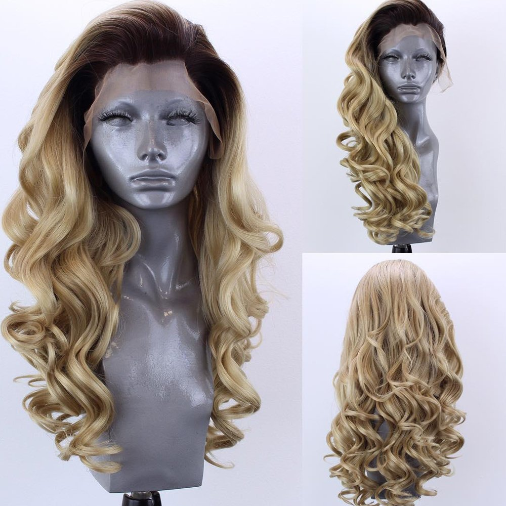 Yuan 2 Tone Ombre Synthetic Lace Front Wigs Loose Bouncy Curly Champagne Blonde
