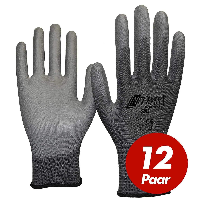 Nitras 6205 Nylon Strickhandschuh grau - VPE 12 Paar - mit PU-Beschichtung auf Innenhand und Fingerkuppen, Grö ß e:9