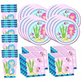 Mermaids Under the Sea Birthday Party Supplies Set Plates Napkins Cups Tableware Kit for 16