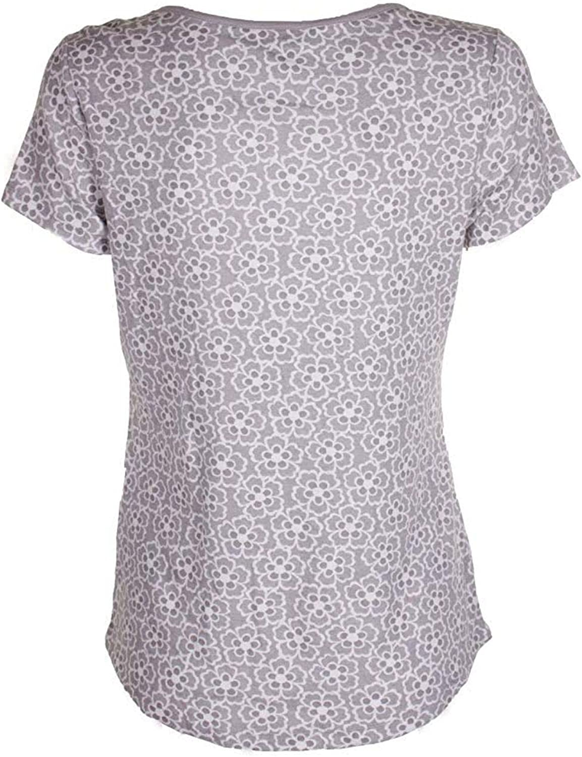 Charter Club Printed Cotton Knit Pajama T-S Floral Dove Grey XXL