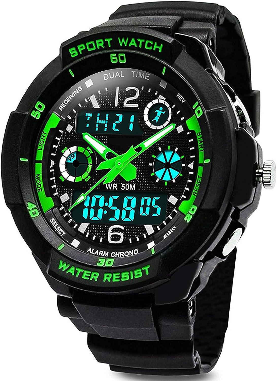 Digital Uhren für Kinder Jungen - Wasserdicht Outdoor Sports Digitaluhren Analog Armbanduhr mit Wecker/Timer/LED-Licht -