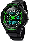 Digital Watches for Kids Boys - 50M Waterproof Outdoor Sports Analogue Watch with Alarm/Timer/Dual Time Zone/LED Light, Childrens Electronic Shock Resistant Wrist Watches for Junior Teenagers by VDSOW