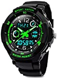 Digital montres pour enfants garçons - 50 m étanche Sports de plein air montre analogique avec alarme/minuteur/double Fuseau horaire/lumière LED pour enfant