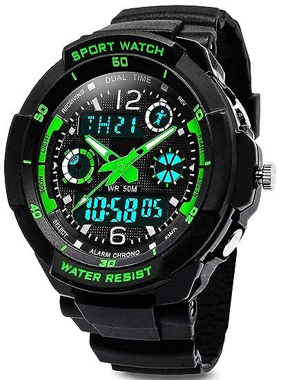 Digital reloj de pulsera para niños - 50 m impermeable deportes al aire libre analógico reloj con alarma/temporizador/Dual tiempo zona/luz LED ...