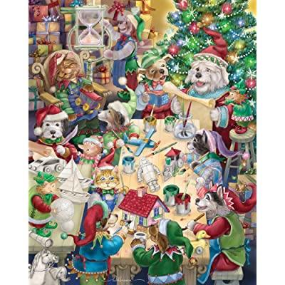 Vermont Christmas Company North Pole Pets Jigsaw Puzzle: Toys & Games
