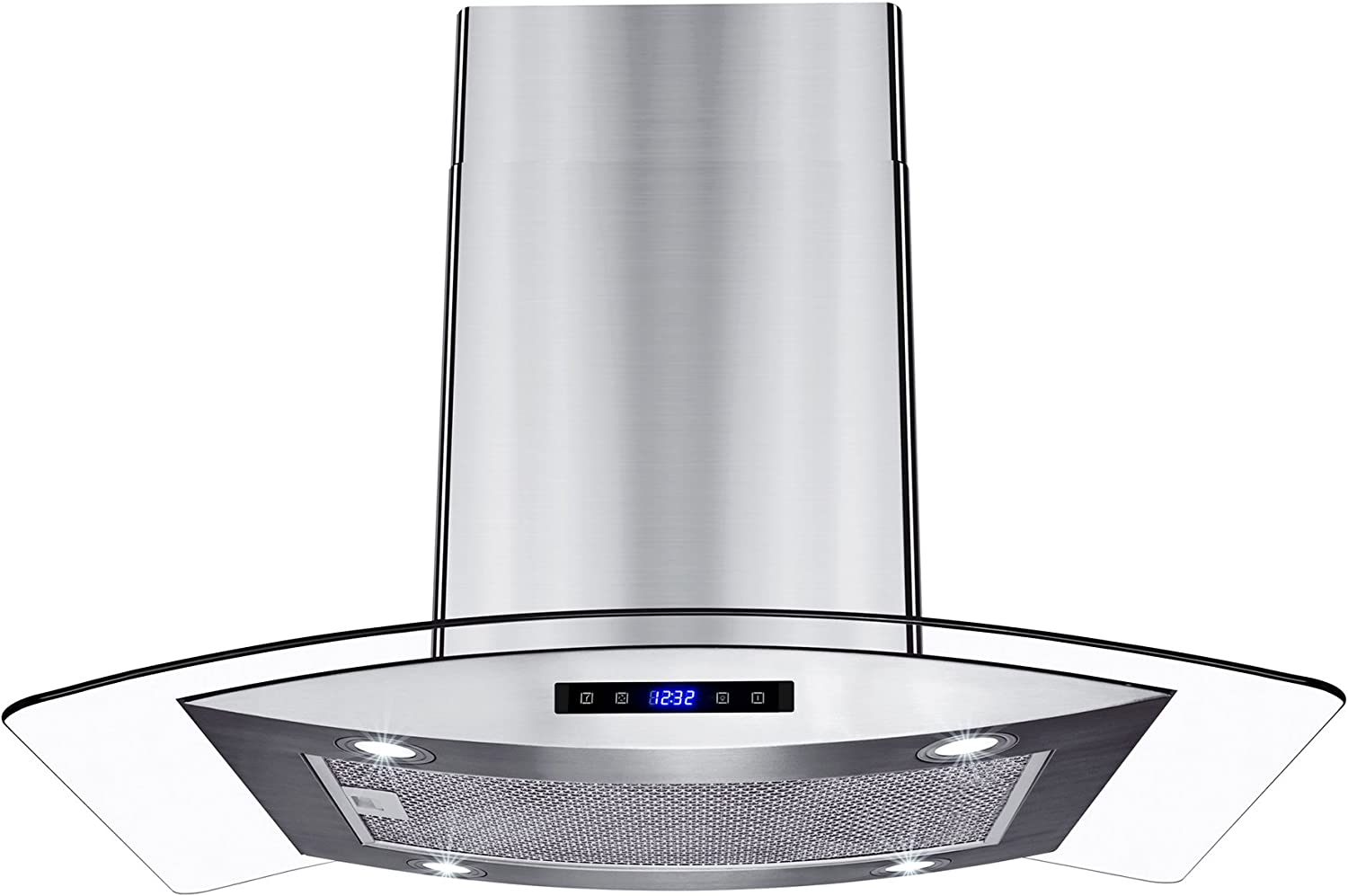 """AKDY New 30"""" European Style Island Mount Stainless Steel Glass Range Hood Vented Touch Control Panel"""