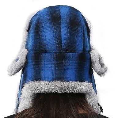 7e83fa701b8 FURTALK Winter Trapper Fur Hat for Women Natural Rabbit Fur Trim Hunting  Russian Hats Designed Blue  Amazon.ca  Clothing   Accessories