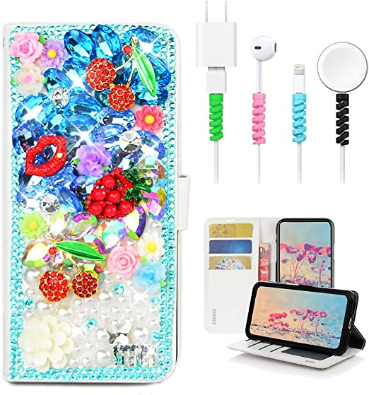 3D Handmade Butterfly Mermaid Design Leather Cover with Cable Protector STENES Bling Wallet Case Compatible with Sony Xperia 1 - Light Blue 4 Pack Stylish