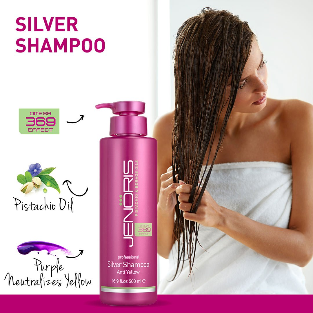 Jenoris Silver Shampoo 16.9 fl.oz/500 ml Professional haircare products; Purple Shampoo healing formula prevents discoloring for blonde, grey, or lightened hair. Sulfate free & pistachio oil infused by JENORIS