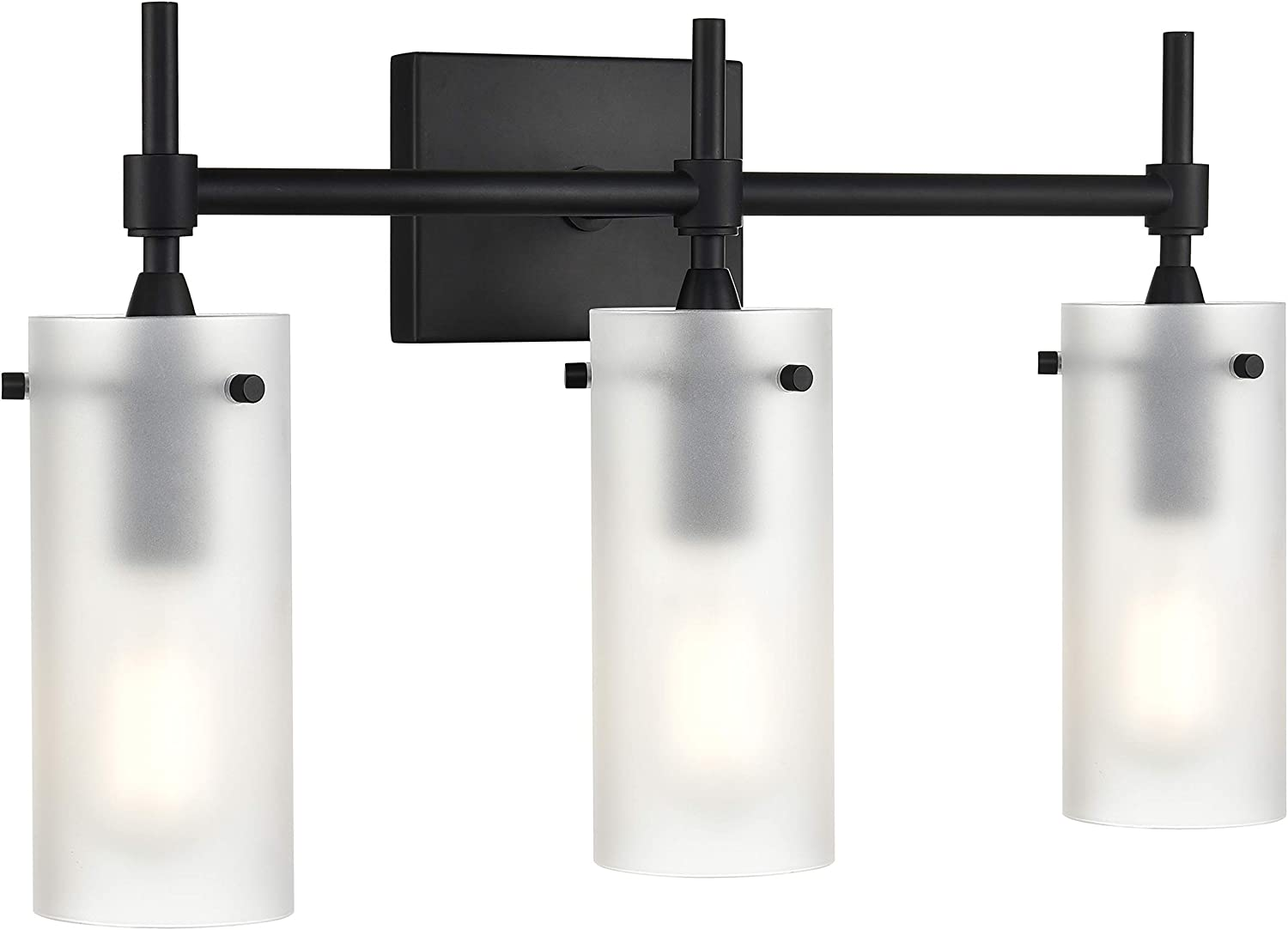 Effimero 3 Light Bathroom Vanity Light Black Hallway Wall Sconce, Frosted Glass Shades LL-WL33-FRST-5BLK