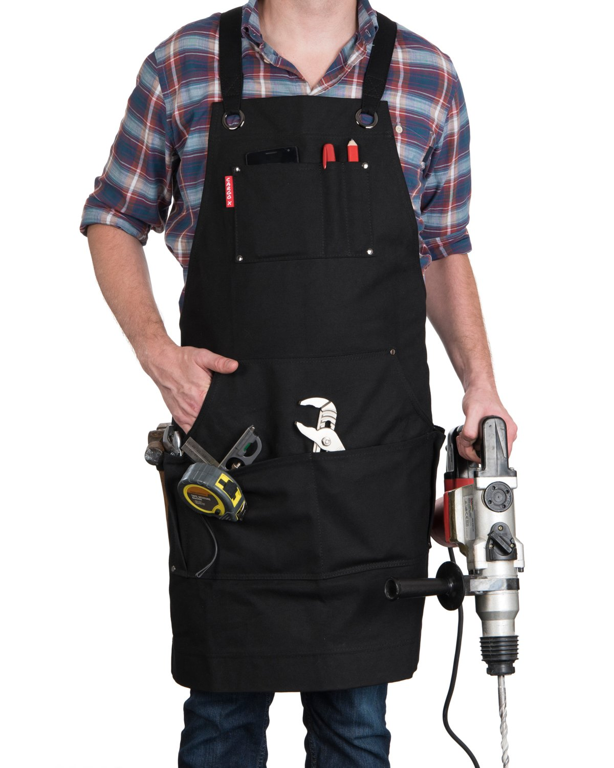 Waxed Canvas Heavy Duty Work Apron with Pockets (Black), Adjustable S to XXL with Cross-Back Straps and Quick Release Buckle for Men & Women - Cargo X