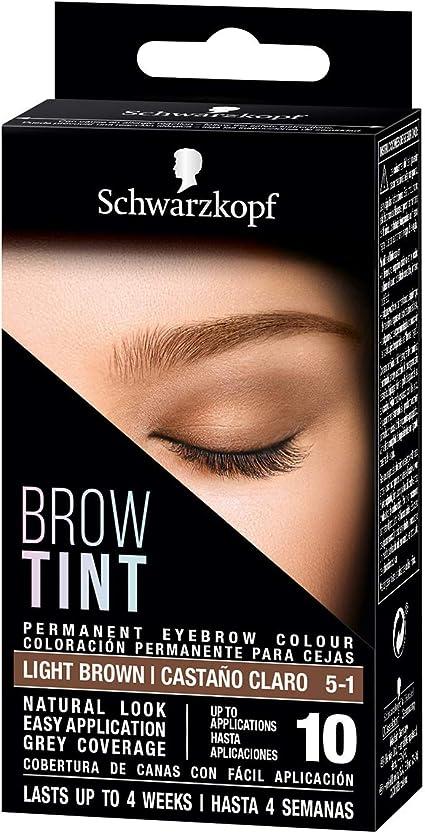 Schwarzkopf Brow Tint - Tinte De Cejas Castaño Claro Tono 5.1 – Coloración permanente - Color natural y duradero de hasta 4 semanas