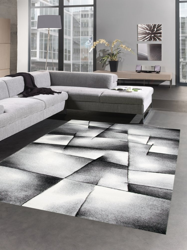 Carpetia Moderner Teppich Kurzflor Wohnzimmerteppich Konturenschnitt karo abstrakt grau schwarz Weiss Größe 200 cm Quadrat