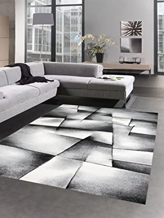Designer Teppich Moderner Teppich Wohnzimmer Teppich Kurzflor Teppich Mit  Konturenschnitt Karo Muster Grün Grau Creme Schwarz ...