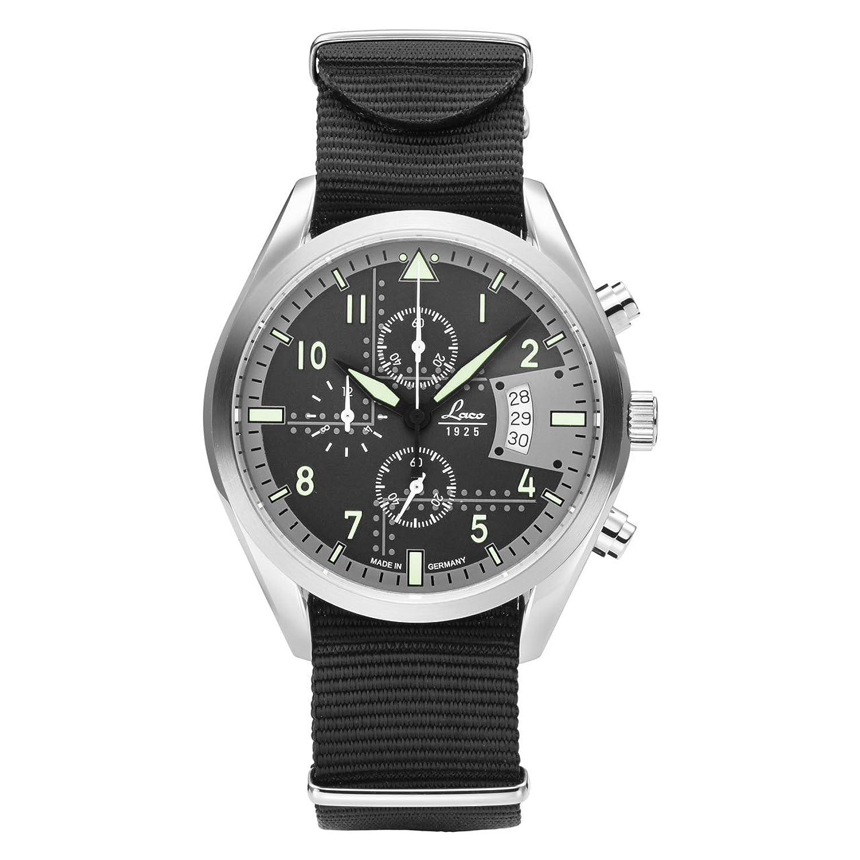 Laco Detroit Herren-Chronograph Schwarz Nylonarmband 861917