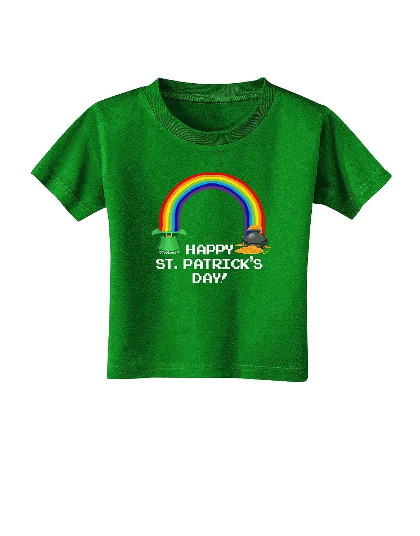 TooLoud Pixel Pot of Gold St Patrick Text Toddler T-Shirt Dark